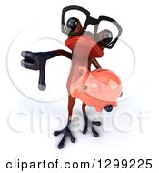 Clipart Of A 3d Bespectacled Red Springer Frog Holding Up A Thumb Down And A Piggy Bank Royalty Free Illustration