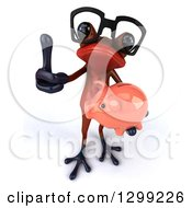 Clipart Of A 3d Bespectacled Red Springer Frog Holding Up A Thumb And A Piggy Bank Royalty Free Illustration