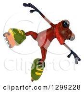 Clipart Of A 3d Red Springer Frog Jumping In Roller Blade Inline Skates Royalty Free Illustration