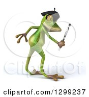 Clipart Of A 3d French Springer Frog Facing Right And Searching With A Magnifying Glass Royalty Free Illustration by Julos