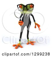 Clipart Of A 3d Bespectacled Green Business Springer Frog Searching With A Magnifying Glass Royalty Free Illustration
