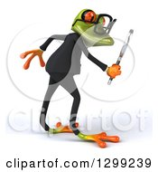 Clipart Of A 3d Bespectacled Green Business Springer Frog Facing Right And Searching With A Magnifying Glass Royalty Free Illustration