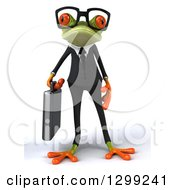 3d Bespectacled Green Business Springer Frog Standing With A Briefcase