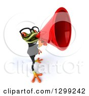 Clipart Of A 3d Bespectacled Green Business Springer Frog Announcing Upwards With A Megaphone Royalty Free Illustration
