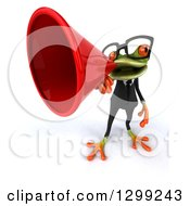 Clipart Of A 3d Bespectacled Green Business Springer Frog Announcing Upwards With A Red Megaphone Royalty Free Illustration