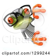 Clipart Of A 3d Bespectacled Green Springer Frog Sailor Looking Around A Sign Royalty Free Illustration by Julos