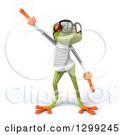 Clipart Of A 3d Bespectacled Green Springer Frog Sailor In A Dance Pose Royalty Free Illustration