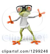 Clipart Of A 3d Bespectacled Green Springer Frog Sailor In A Dance Pose 2 Royalty Free Illustration