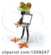 Clipart Of A 3d Formal Green Business Springer Frog Facing Left And Holding A Laptop Computer Royalty Free Illustration