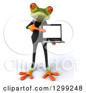 Clipart Of A 3d Formal Green Business Springer Frog Holding And Pointing To A Laptop Computer Royalty Free Illustration