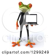 Clipart Of A 3d Formal Green Business Springer Frog Holding A Laptop Computer Royalty Free Illustration