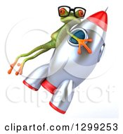 Clipart Of A 3d Bespectacled Green Springer Frog Clinging To A Rocket Royalty Free Illustration by Julos
