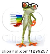 Clipart Of A 3d Bespectacled Green Springer Frog With A Stack Of Books Royalty Free Illustration