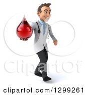 Clipart Of A 3d Young Brunette White Male Phlebotomist Doctor Walking Slightly Right And Holding A Blood Drop Royalty Free Illustration