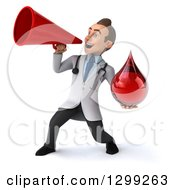 Clipart Of A 3d Young Brunette White Male Phlebotomist Doctor Announcing With A Megaphone And Holding A Blood Drop Royalty Free Illustration