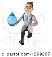 Clipart Of A 3d Young Brunette White Male Doctor Sprinting And Holding A Water Droplet Royalty Free Illustration