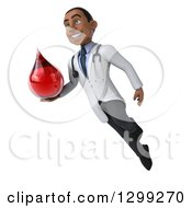 Clipart Of A 3d Young Black Male Phlebotomist Doctor Floating And Holding A Blood Drop Royalty Free Illustration