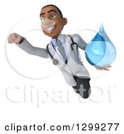 Clipart Of A 3d Young Black Male Doctor Flying And Holding A Water Drop Royalty Free Illustration