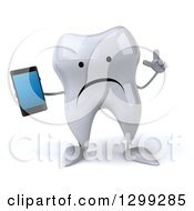 Clipart Of A 3d Unhappy Tooth Character Holding Up A Finger And A Smart Cell Phone Royalty Free Illustration