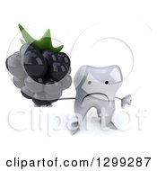 Clipart Of A 3d Unhappy Tooth Character Holding Up A Blackberry And Thumb Up Royalty Free Illustration