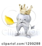 Clipart Of A 3d Unhappy Crowned Tooth Character Shrugging And Holding A Banana Royalty Free Illustration