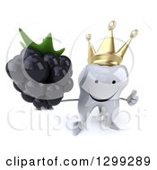 Clipart Of A 3d Happy Crowned Tooth Character Holding Up A Blackberry And A Thumb Royalty Free Illustration