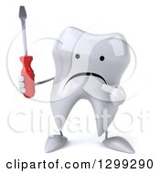 Clipart Of A 3d Unhappy Tooth Character Holding And Pointing To A Screwdriver Royalty Free Illustration