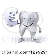 Clipart Of A 3d Happy Tooth Character Holding A Euro Currency Symbol Royalty Free Illustration