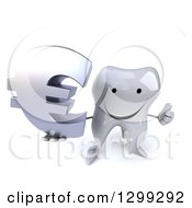 Clipart Of A 3d Happy Tooth Character Holding Up A Thumb And A Euro Currency Symbol Royalty Free Illustration