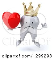 Clipart Of A 3d Unhappy Crowned Tooth Character Jumping And Holding A Heart Royalty Free Illustration