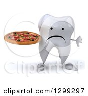Clipart Of A 3d Unhappy Tooth Character Giving A Thumb Down And Holding A Pizza Royalty Free Illustration