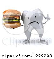 Clipart Of A 3d Unhappy Tooth Character Holding Up A Finger And A Double Cheeseburger Royalty Free Illustration