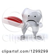 Clipart Of A 3d Unhappy Tooth Character Holding And Pointing To A Beef Steak Royalty Free Illustration