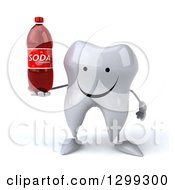 Clipart Of A 3d Happy Tooth Character Holding A Soda Bottle Royalty Free Illustration