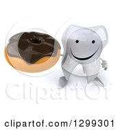Clipart Of A 3d Happy Tooth Character Holding Up A Donut Royalty Free Illustration