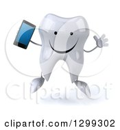 Clipart Of A 3d Happy Tooth Character Jumping With A Smart Cell Phone Royalty Free Illustration