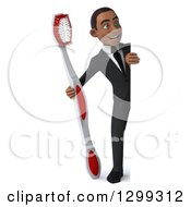 Clipart Of A 3d Full Length Happy Young Black Businessman Or Dentist In A Suit Looking Around A Sign With A Giant Tootbrush Royalty Free Illustration