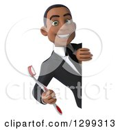 Clipart Of A 3d Happy Young Black Businessman Or Dentist In A Suit Looking Around A Sign With A Giant Tootbrush Royalty Free Illustration