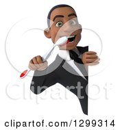 Clipart Of A 3d Happy Young Black Businessman Or Dentist In A Suit Looking Around A Sign With A Tootbrush Royalty Free Illustration