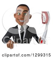 Clipart Of A 3d Happy Young Black Businessman Or Dentist In A Suit Looking Over A Sign With A Giant Tootbrush Royalty Free Illustration