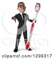 Clipart Of A 3d Young Black Businessman Or Dentist In A Suit Giving A Thumb Down And Holding A Giant Tootbrush Royalty Free Illustration