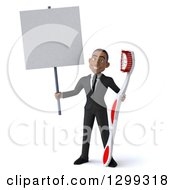 Clipart Of A 3d Happy Young Black Businessman Or Dentist In A Suit Holding A Blank Sign And A Giant Tootbrush Royalty Free Illustration