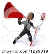 Clipart Of A 3d Happy Young Black Businessman Or Dentist In A Suit Announcing With A Megaphone And Holding A Giant Tootbrush Royalty Free Illustration
