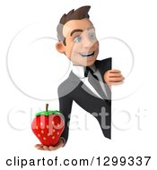 Clipart Of A 3d Happy Young White Businessman Holding A Strawberry Around A Sign Royalty Free Illustration