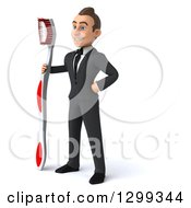 Clipart Of A 3d Happy Young Brunette White Businessman Or Dentist In A Suit Facing Left With A Giant Toothbrush Royalty Free Illustration