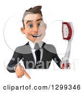 Clipart Of A 3d Happy Young Brunette White Businessman Or Dentist In A Suit Holding A Giant Toothbrush Over A Sign Royalty Free Illustration
