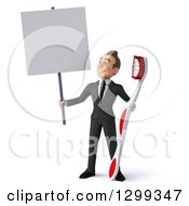 Clipart Of A 3d Happy Young Brunette White Businessman Or Dentist In A Suit Holding A Giant Toothbrush And Blank Sign Royalty Free Illustration