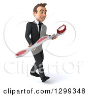 Clipart Of A 3d Happy Young Brunette White Businessman Or Dentist In A Suit Walking Right And Holding A Giant Toothbrush Royalty Free Illustration