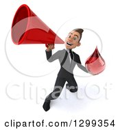 Clipart Of A 3d Happy Young White Businessman Holding A Blood Drop And Announcing With A Megaphone Royalty Free Illustration
