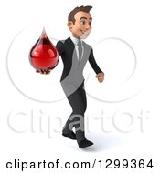 Clipart Of A 3d Happy Young White Businessman Walking To The Right And Holding A Blood Drop Royalty Free Illustration
